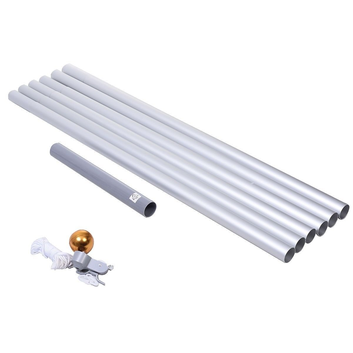 Lotus energy 25FT Extra Thick Aluminum Sectional American Flag Pole, Super Tough Heavy Duty US Outdoor Residential Flagpole Kit with Golden Ball Topper, Silver