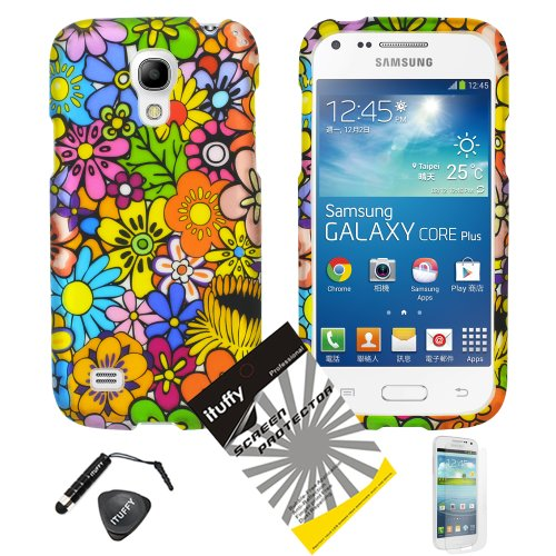 4 items Combo: ITUFFY (TM) LCD Screen Protector Film + Mini Stylus Pen + Case Opener + Design Rubberized Snap on Hard Shell Cover Faceplate Skin Phone Case for Samsung Galaxy S4 Mini i9190 / i9192 / i9195 / i9198 (Color Daisy Flower) ()