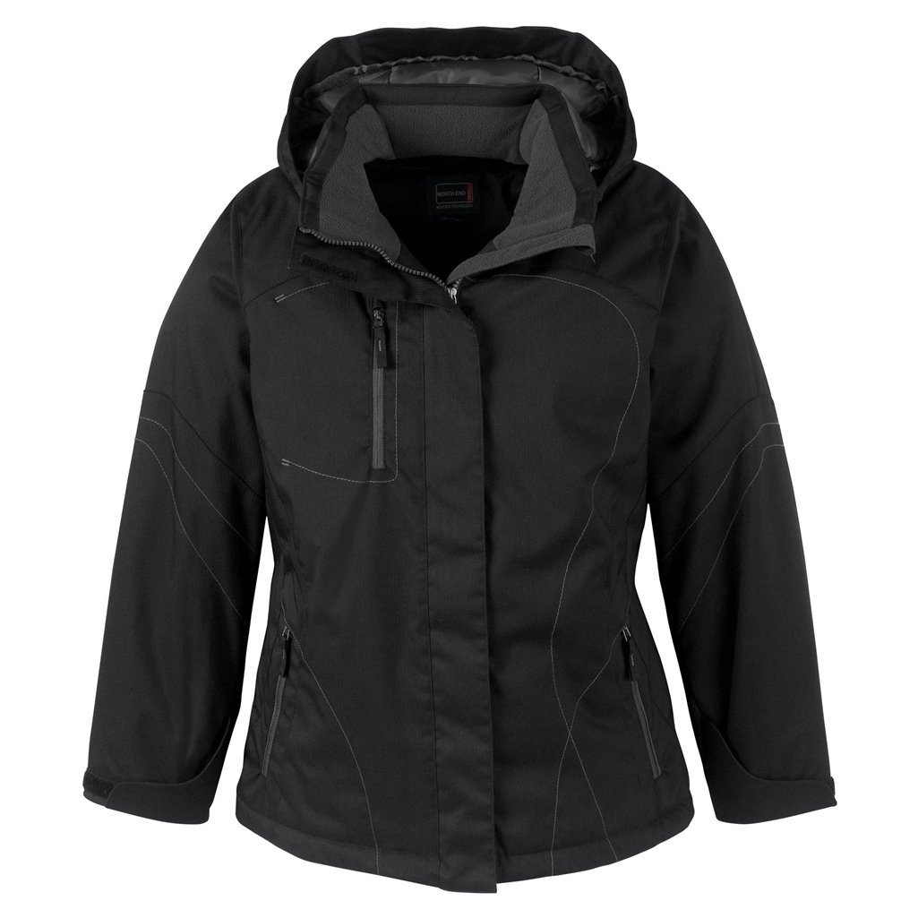 Ash City Ladies Two-Tone Textured Insulated Jacket (XX-Large, Black)
