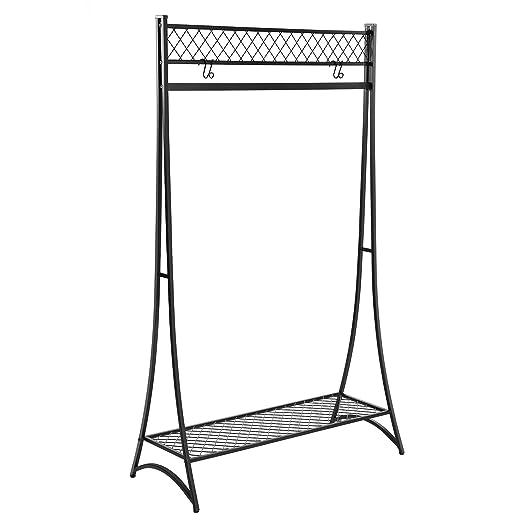 SONGMICS Perchero Metálico, Percha para Colgar, Capacidad 50 kg, Diseño de Torre Elegante, Estante Inferior de Rejilla, para la Entrada a la ...