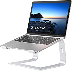 Laptop stand, OMOTON Detachable Laptop Mount, Aluminum Laptop Holder Stand for Desk, Compatible with Macbook Air/Pro, Dell, HP, Lenovo and All Laptops (10-15.6 inch),Silver