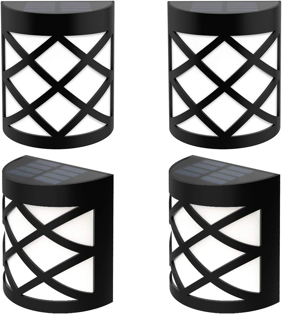 Briignite Solar LED Deck Lights Outdoor, Automatic Solar Wall Light, Warm White Color Changing, Dusk to Dawn Waterproof Decorative Solar Fence Post Lights for Yard, Path and Driveway, 4 Pack