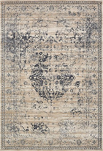 Unique Loom Chateau Collection Distressed Vintage Traditional Textured Dark Blue Area Rug (10' 0 x 14' 5) ()