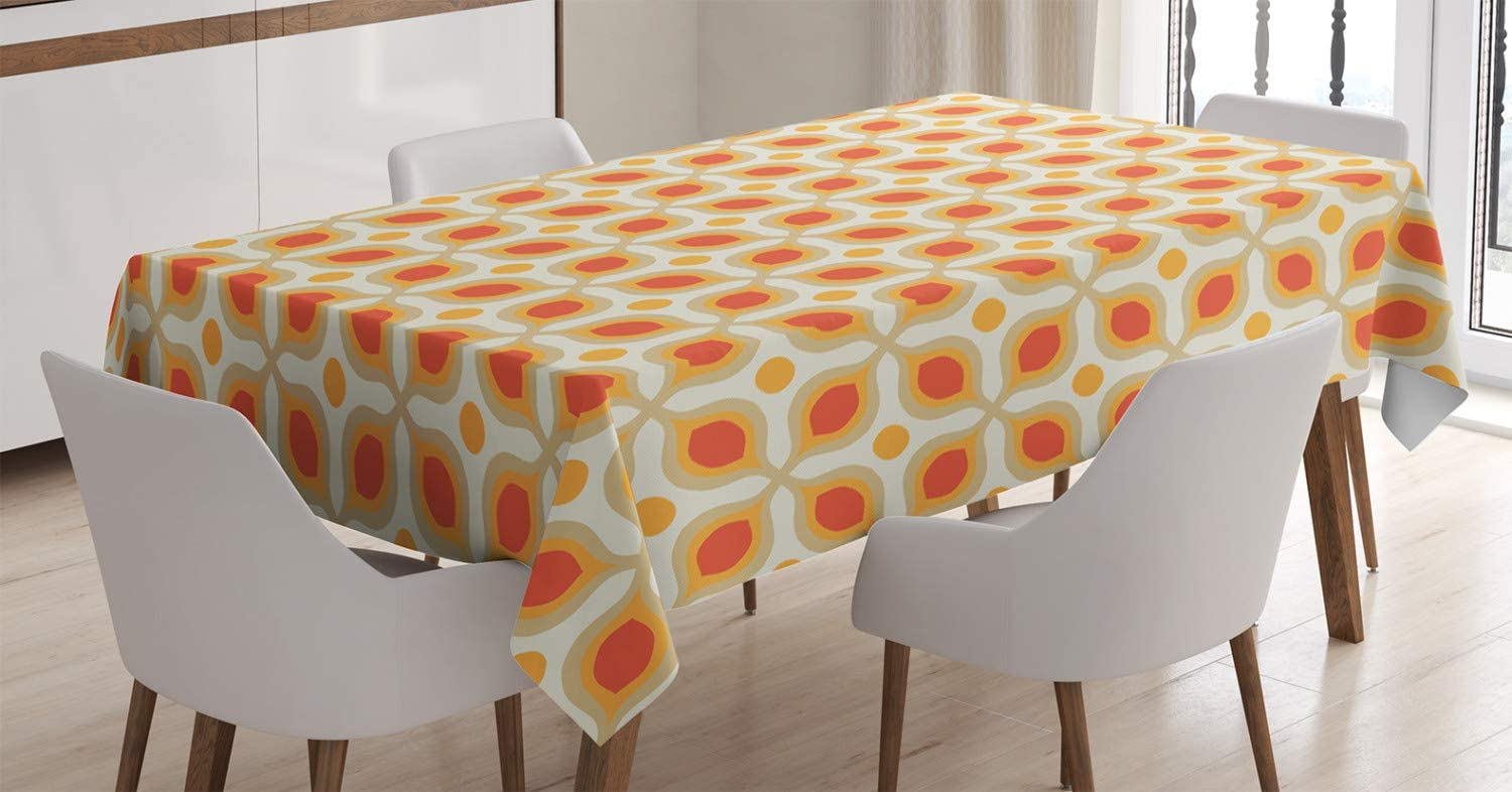 """Ambesonne Geometric Tablecloth, Linked Bold Geometric Shapes 70s Vintage Minimalist Pattern Bohemian Design, Rectangular Table Cover for Dining Room Kitchen Decor, 60"""" X 90"""", Orange Cream"""
