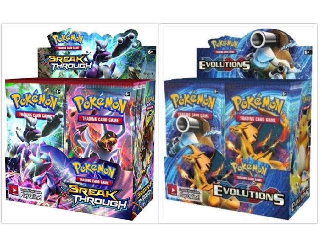 Pokémon XY Breakthrough Booster Box + XY Evolutions Booster Box Pokémon Trading Cards Game Bundle, 1 of Each