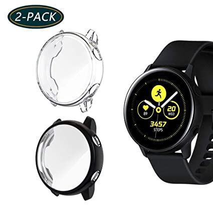 KPYJA (2-Pack) for Samsung Galaxy Watch Active Screen Protector, All-Around TPU Anti-Scratch Flexible Case Soft Protective Bumper Cover for Galaxy ...