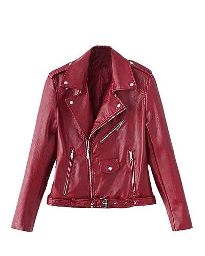 SaiDeng Mujer Chaqueta Moto Delgado Ajuste Zip Pu Cuero Biker Jacket