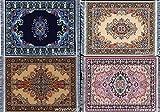 Set of 4 Unique Fabric Table Mat Coasters – Turkish Rug Designs