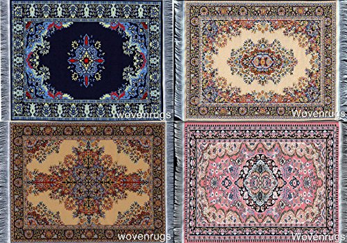 Set of 4 Unique Fabric Table Mat Coasters – Turkish Rug Designs