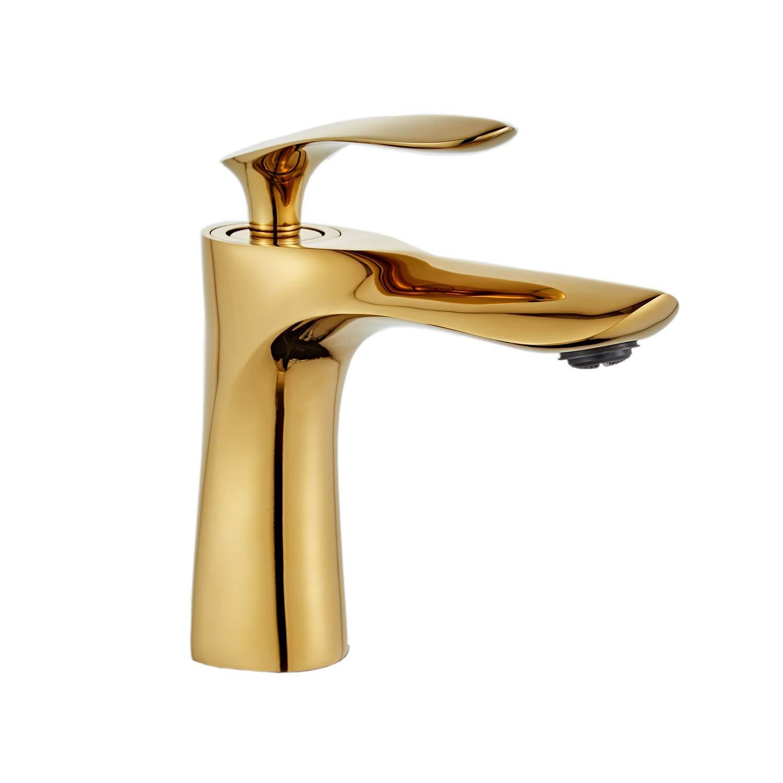 Waschbecken Wasserhahn Gold Chrom Messing Einhand-Waschtisch-Mischbatterie Leekayer,LK75239Gg