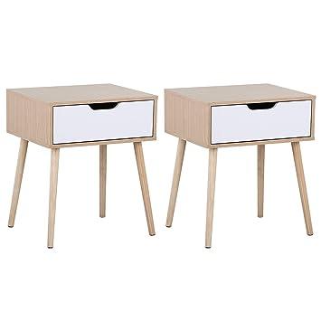 Yaheetech Table De Chevet Lot De 2 Tables De Nuit Avec Une Tiroir Table Carrée à Café Design Scandinave Pour Salon Chambre Bureau