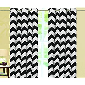 Amazon Com Black And White Chevron Window Treatment Zig