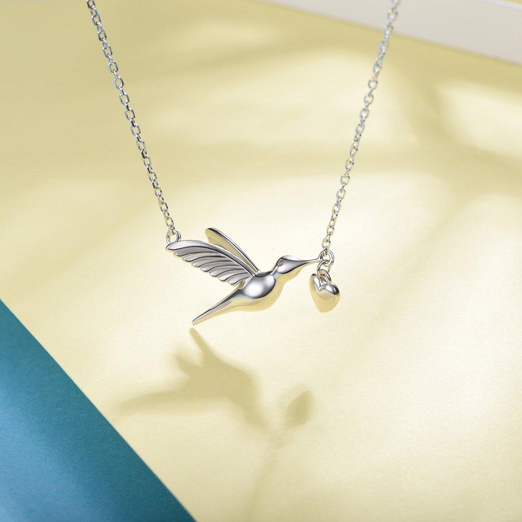 SILVERCUTE Novelty Heart Hummingbird Women Necklace 925 Sterling Silver Fine Jewelry Bird Pendant & Chain by SILVERCUTE (Image #5)