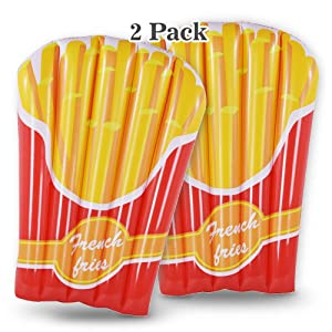 French Fries Pool Float 2 Pack, Summer Fun Inflatable Fries Float for Kids, 56 Inches Swim Pool or Beach Toys