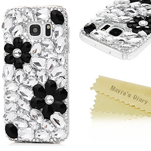 Mavis's Diary Galaxy S7 Case 3D Handmade Bling Crystal Cute Black Flowers Design Shiny Full Diamonds Glitter Sparkly Gems Rhinestones Clear Full Edge Cover Hard PC Case for Samsung Galaxy S7