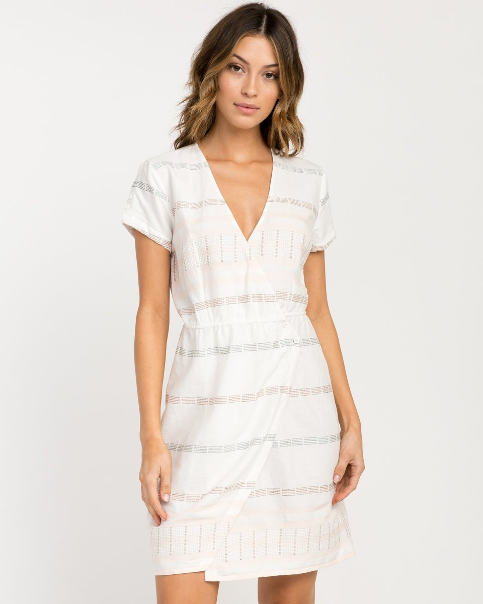 RVCA Junior's Rose Wrap Dress, Vintage White, S by RVCA (Image #2)