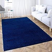 carpet city Hoogpolig tapijt woonkamer effen - blauw - 60x110 cm - Shaggy langpolig Uni slaapkamer - zacht & pluizig…