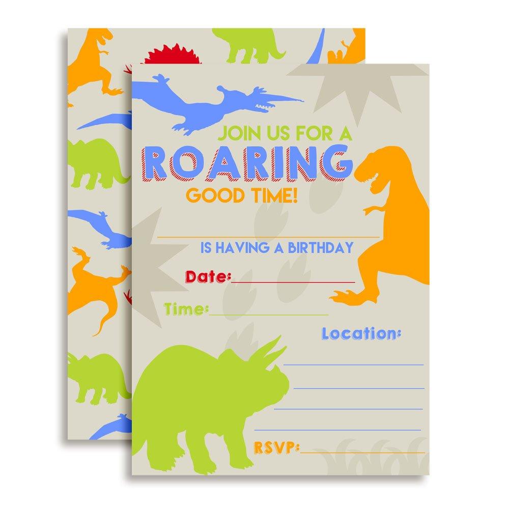 Dinosaur Bite Boy Birthday Party Invitations, 20 5''x7'' Fill In Cards with Twenty White Envelopes by AmandaCreation