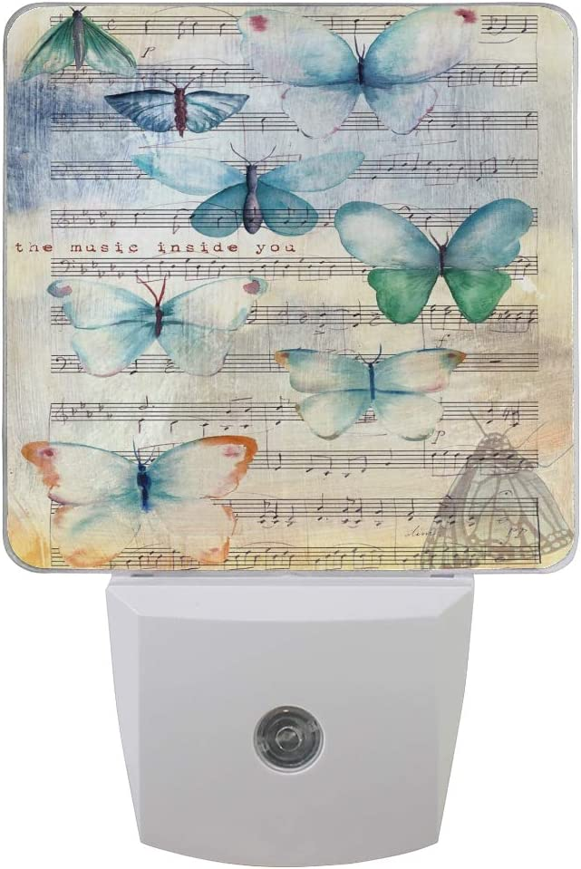 Amazon Com Wamika Butterfly Music Note Led Night Light Set Of 2 Auto Sensor Dusk To Dawn Light Animal Nightlight Plug In Indoor For Adults Kids Bedroom Decorations Home Kitchen