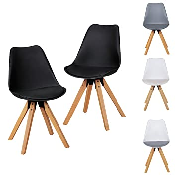 2er Set Retro Esszimmerstühle Ohne Armlehne | Sitzfläche Kunstleder |  Küchenstuhl Mit Lehne Aus Kunststoff U0026
