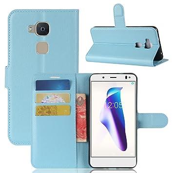 Nadakin BQ Aquaris V Calidad Premium Cartera de Cuero con Carcasa de TelÃfono Flip Funda con Soporte Magnetico de Cierre para BQ Aquaris V(Cielo azul)