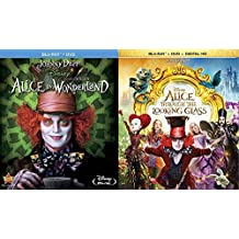 Disney's Alice in Wonderland Starring Johnny Depp Blu-ray Double Feature - Alice in Wonderland (Blu-ray DVD Combo) & Alice Through the Looking Glass