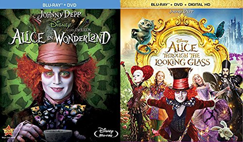 Disney's Alice in Wonderland Starring Johnny Depp Blu-ray Double Feature - Alice in Wonderland (Blu-ray DVD Combo) & Alice Through the Looking Glass (Blu-ray DVD Digital HD)