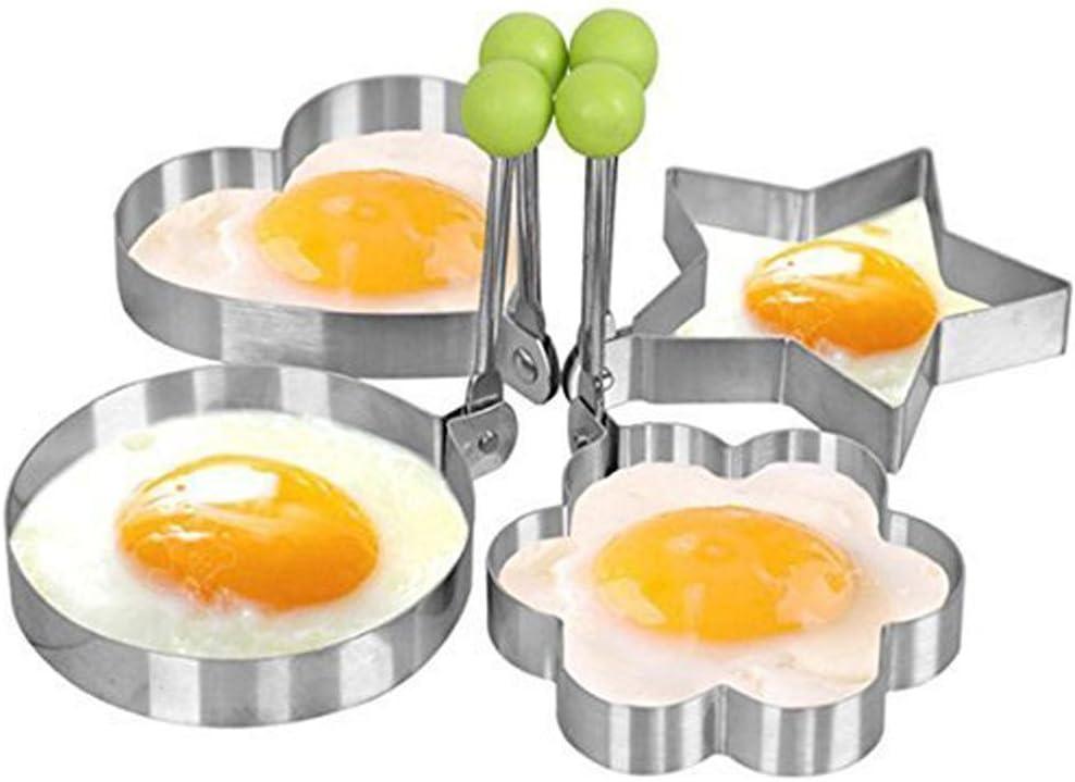 lasenersm Kitchen Stainless Steel Fried Egg Mold Heart Pancake Mould Mold Ring Cooking Fried Egg Shaper,Set of 4