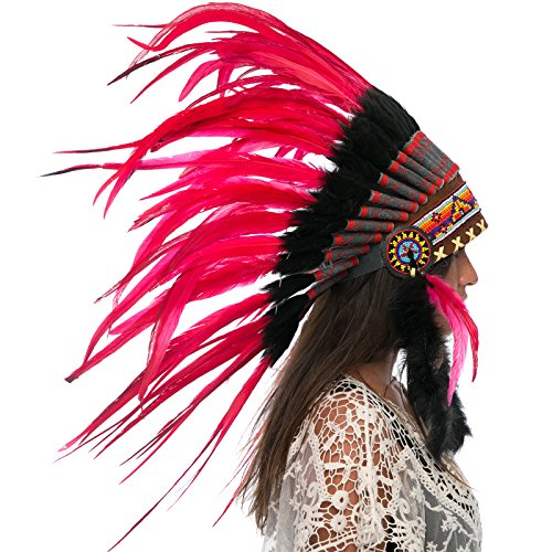 India Costume For Male (Feather Headdress- Native American Indian Inspired- Handmade by Artisan Halloween Costume for Men Women with Real Feathers - Red Rooster)