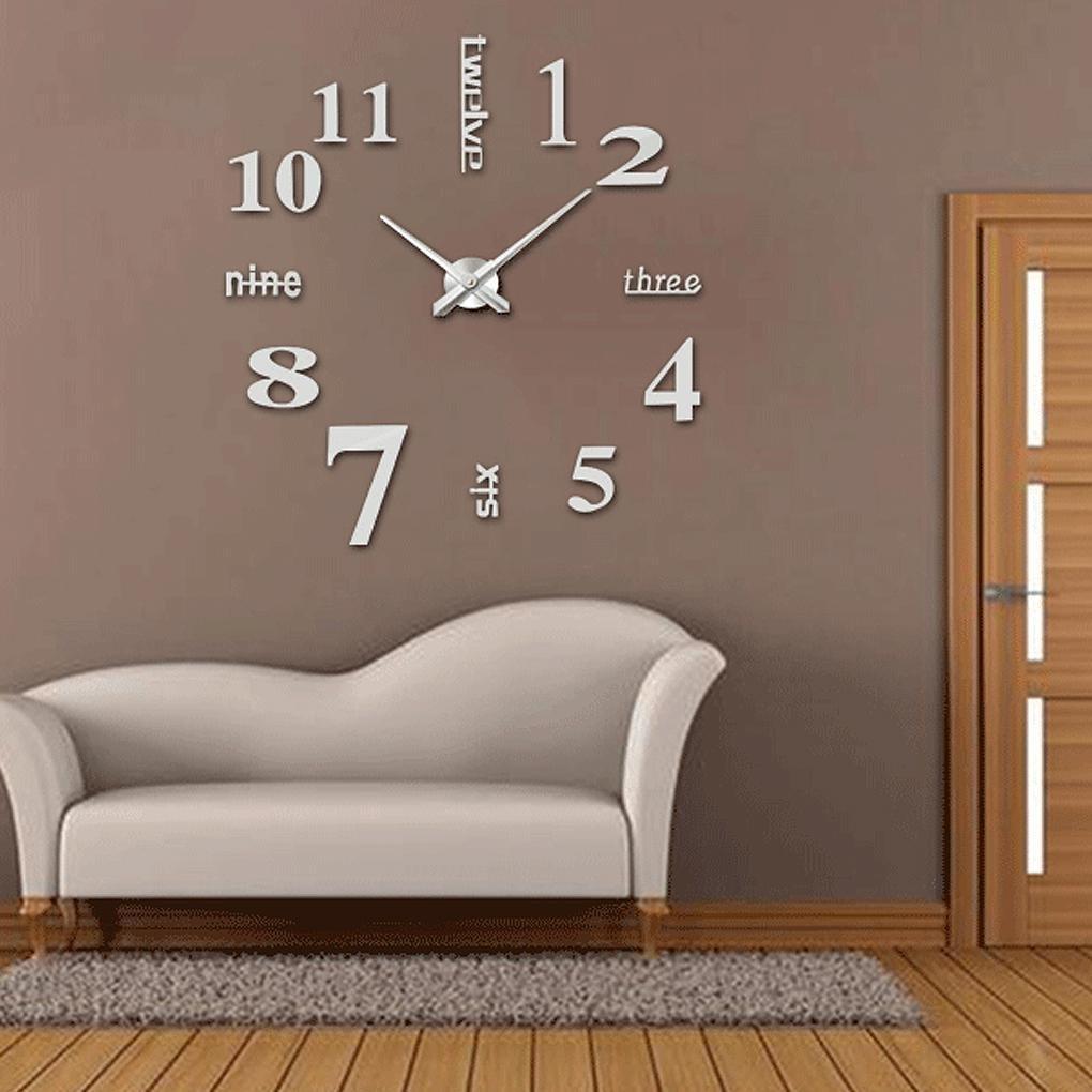 Frameless Chiffres Romains Mur Bricolage Figures Acrylique 3D sp/écial Horloge Montre avec Autocollant pour d/écoration de la Maison Regard