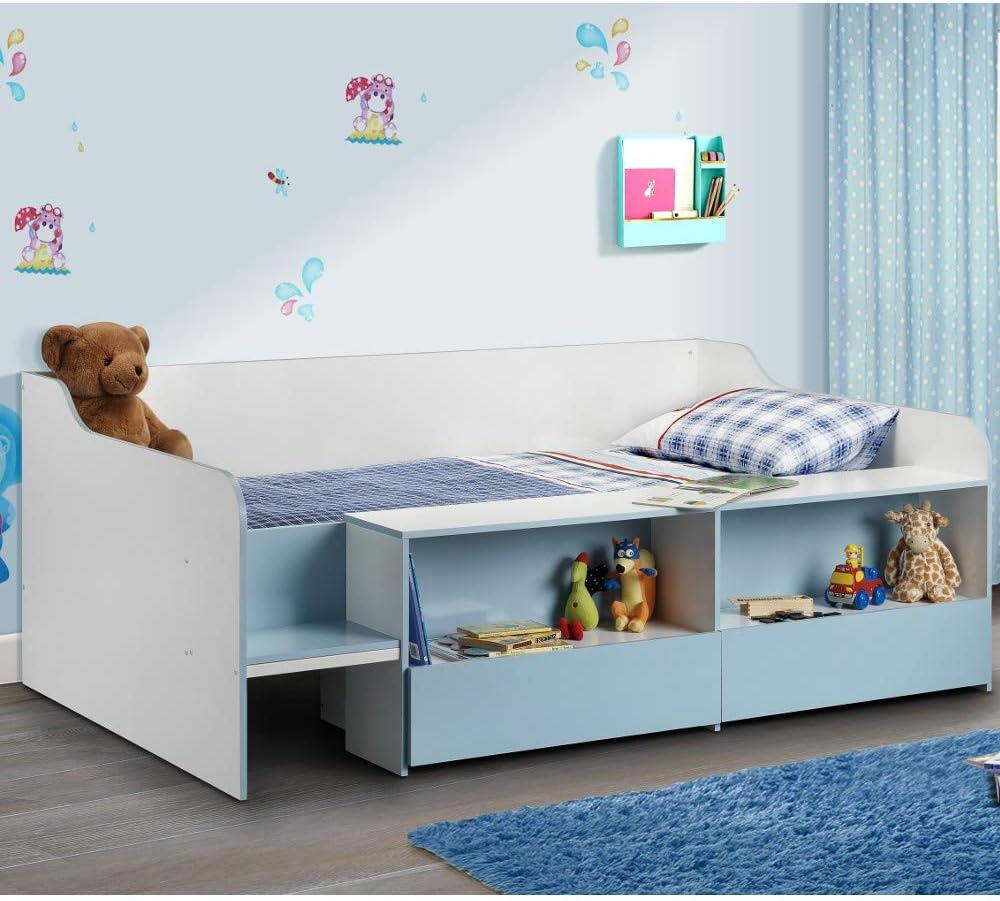 Cama con armario Happy Beds. Cama infantil con estantería y cajones bajo la cama incorporados. Colchón, azul, 3FT - Spring Mattress