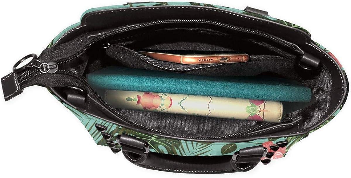 Damen-Handtasche, Vintage-Stil, Blumenmuster, Leder, mit Nieten Tropische Blätter