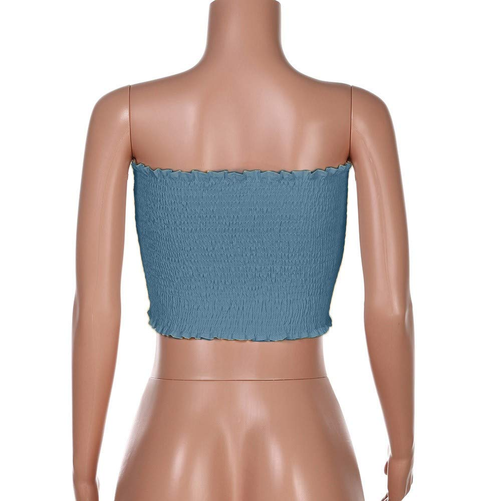 594b1e4c2f Amazon.com  Womens Strapless Pleated Summer Sexy Bandeau Tube Crop Tops  Sexy Off Shoulder Pullover Blouse Tube Cami  Clothing