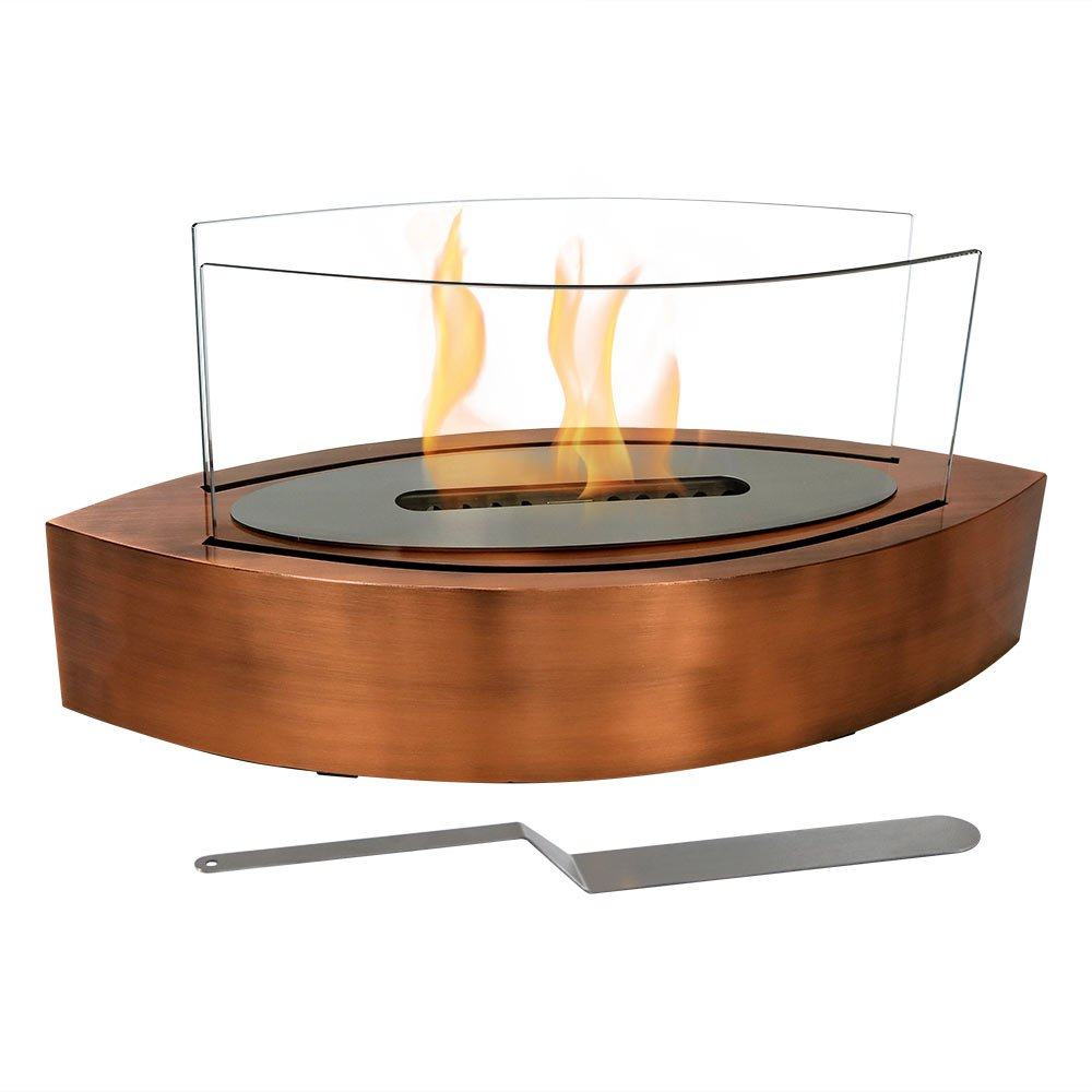 Sunnydaze Barco Ventless Tabletop Bio Ethanol Fireplace, Copper