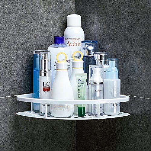 GERUIKE Shower Caddy Corner Shelf Wall Mounted Aluminum Self Adhesive Bathroom Organizer Rustproof, White