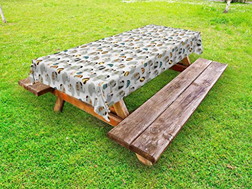 Lunarable Circus Outdoor Tablecloth, Nursery Elephant Acrobats Performing Entertainment Playful Animals Show, Decorative Washable Picnic Table Cloth, 58 X 104 inches, Grey Pale Yellow Brown