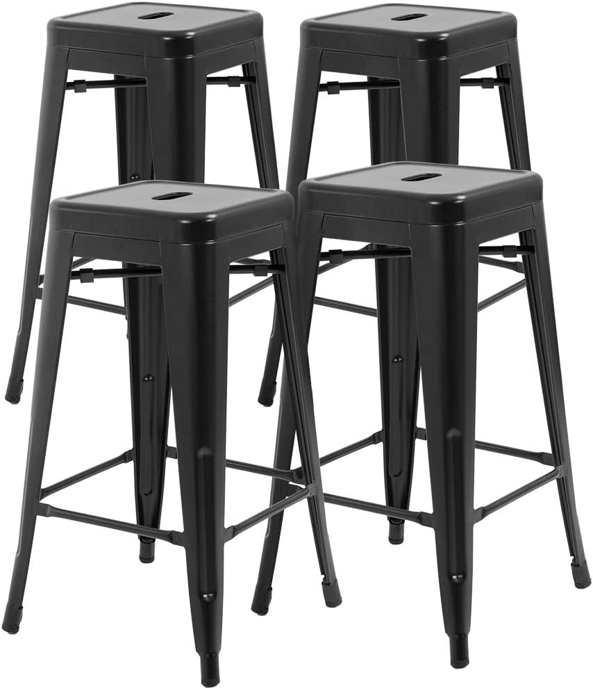 FDW Counter Height Bar Stools Set of 4 Stackable Barstools Kitchen Counter Stool Patio Furniture Bar Stools 30 Inches Indoor Outdoor Stool Metal Bar Stools Modern Dining Chair,Black