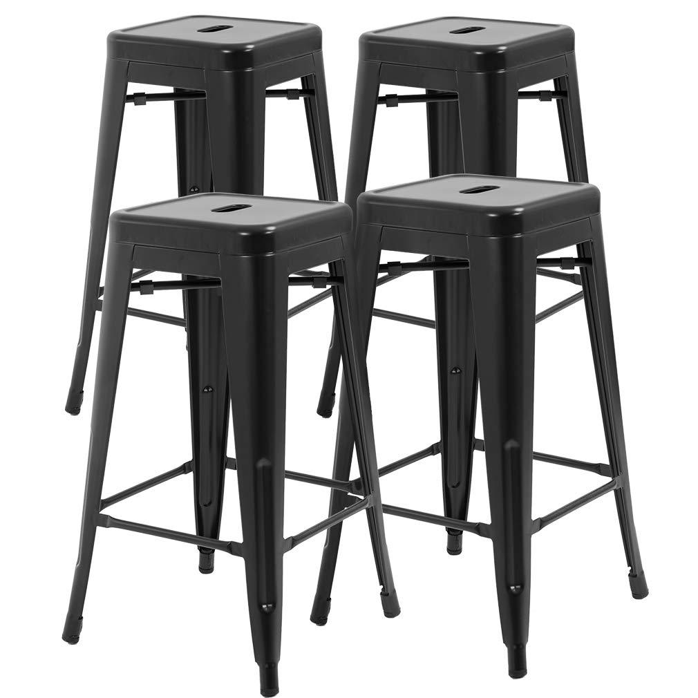 FDW Counter Height Bar Stools Set of 4 Stackable Barstools Kitchen Counter Stool Patio Furniture Bar Stools 30 Inches Indoor Outdoor Stool Metal Bar Stools Modern Dining Chair,Black by FDW