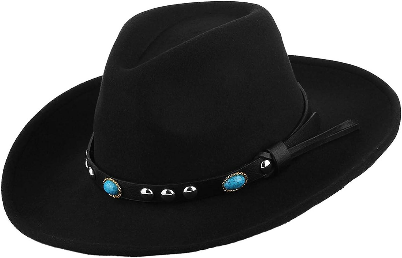 GEMVIE Unisex Wool Felt Western Cowboy Cowgirl Hat Wide Brim Windproof Fancy Dress Party Cowboy Hat