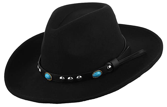 fab4dc073 Gemvie Unisex Wool Felt Western Cowboy Cowgirl Hat Wide Brim ...