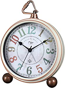 """Maxspace Table Clock, 5.2"""" Retro Vintage Non-Ticking Desk Alarm Clock, Small Alarm Clock with Large Numerals and HD Glass, for Kids Seniors Indoor Decor (White-C)"""