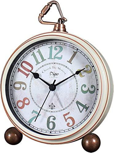 JUSTUP Silent Table Clock,5.2 in Retro Vintage Non-Ticking Desk Table Clock Small Decorative Alarm Clock Battery Operated with Large Numerals and HD Glass for Kids Sensors Indoor Decor Arabic-C