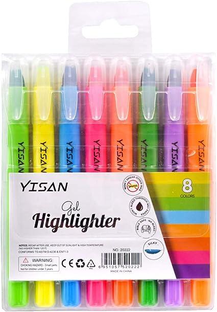 evidenziatore per bibbia YISAN Evidenziatore in gel non macchia pennarello a secco per evidenziare 8 colori assortiti 20222