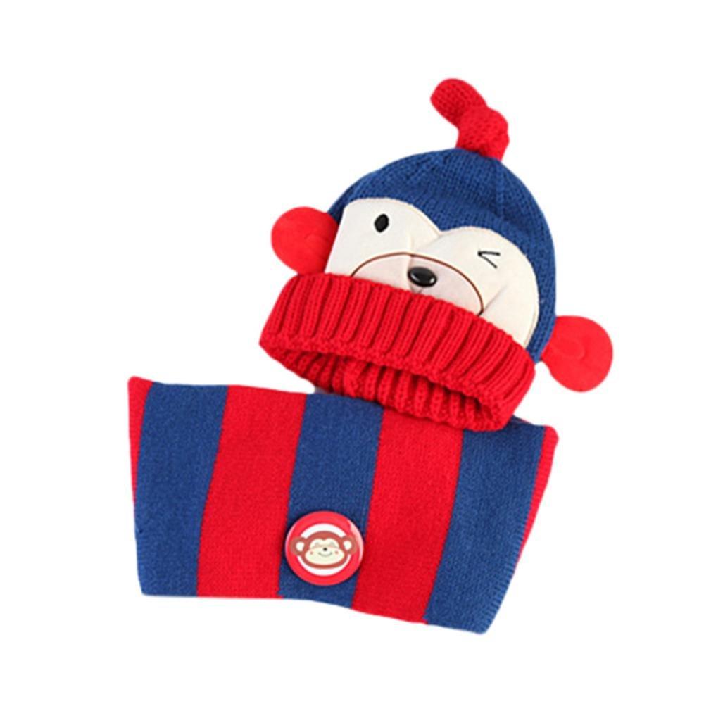 TM Baby Girls Boys Kids Cartoon Monkey Winter Thick Warm Hat+Scarf 2Pcs Children Knitting Warm Hats Cap Fineser