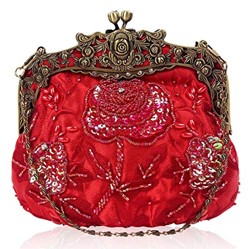Beaded Bags Wedding Women Purse Flower Evening Red Clutches Manyo Party Sequin 5Agqwz6WY