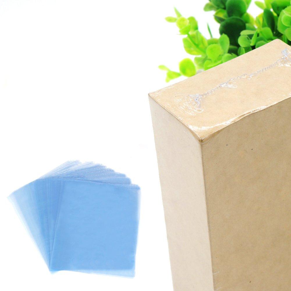 Kangkang@ 100Pcs 13.39 x 9.45inches PVC Shrink Wrap Film Flat Bags Heat Seal for Soaps Bath Bombs Handmade DIY Crafts