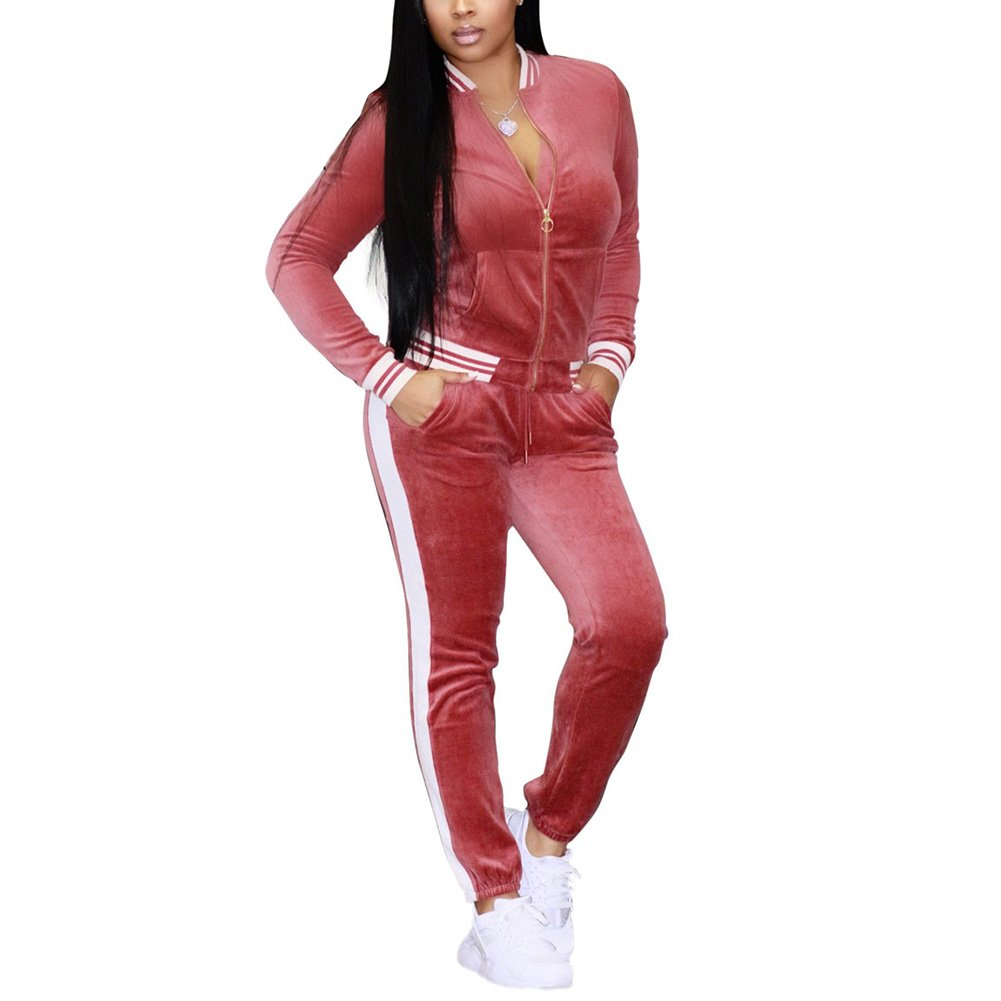 Joseph Costume Women's Two Piece Outfits Velvet Long Sleeve Zip up Jacket and Pants Set Tracksuit Sweatsuit Activewear