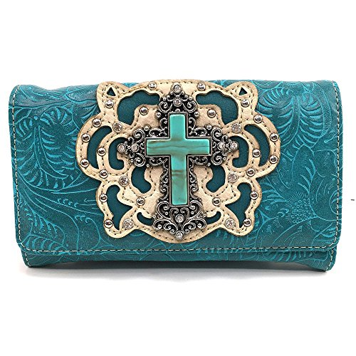 Justin West Cowgirl Western Cross Angel Wings Concealed Carry Handbag Purse Trifold Crossbody Messenger Bag Wallet (Turquoise Wallet)