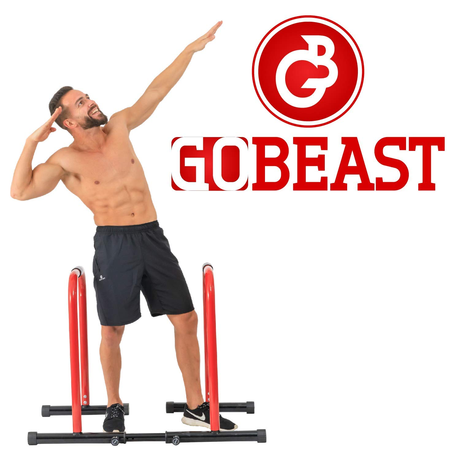 GoBeast Dip Stand with Stability Bar, Adjustable Height and Width, Easy Release Locking Pin, Max User Weight 330lbs / 150kg by GoBeast (Image #8)