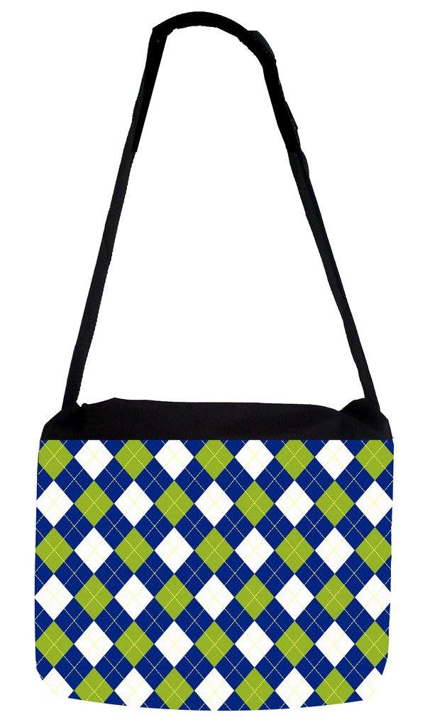 Blue//Green DARK Argye Pattern Rosie Parker Inc TM Medium Sized Messenger Bag 11.75 x 15.5 and 5 x 8 Pencil Case SET